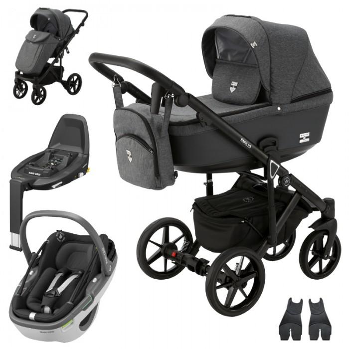 Adamex Emilio wózek wielofunkcyjny 4w1 z fotelikiem Maxi-Cosi Coral i bazą FamilyFix3