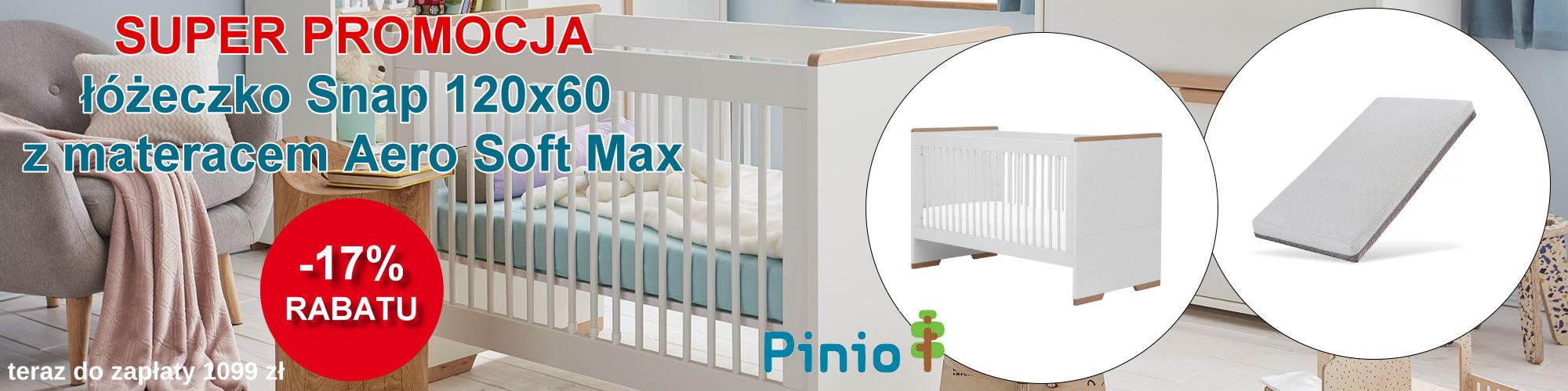 Pinio łóżeczko Snap z materacem Aero Soft Max