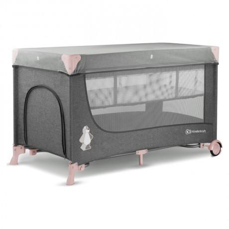 Łóżeczko turystyczne Kinderkraft  JOY Pink z akcesoriami