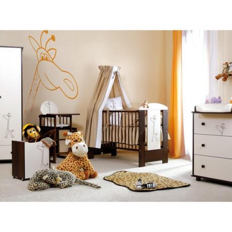 Łóżeczko 120x60 Safari Żyrafka Biel-Orzech